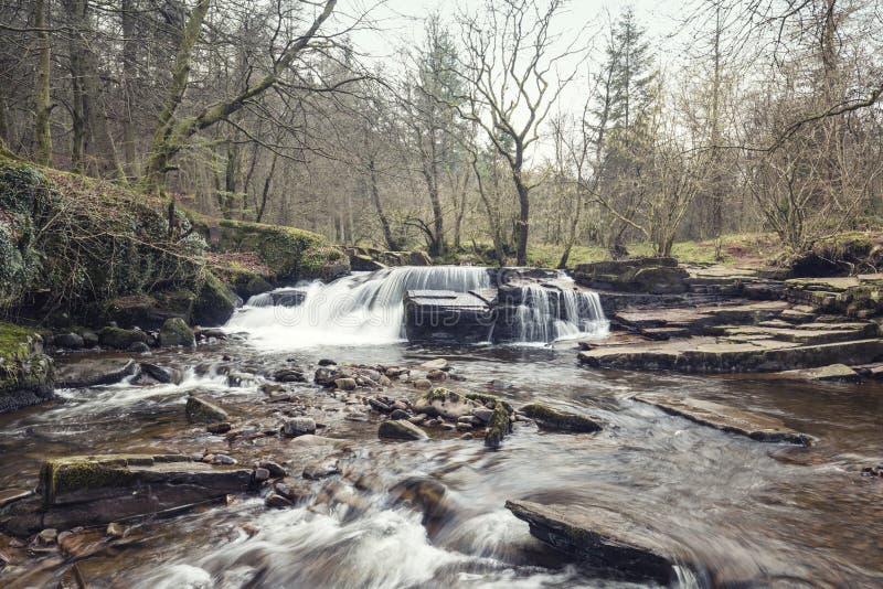 Cascada del faro de Brecon en la primavera temprana foto de archivo