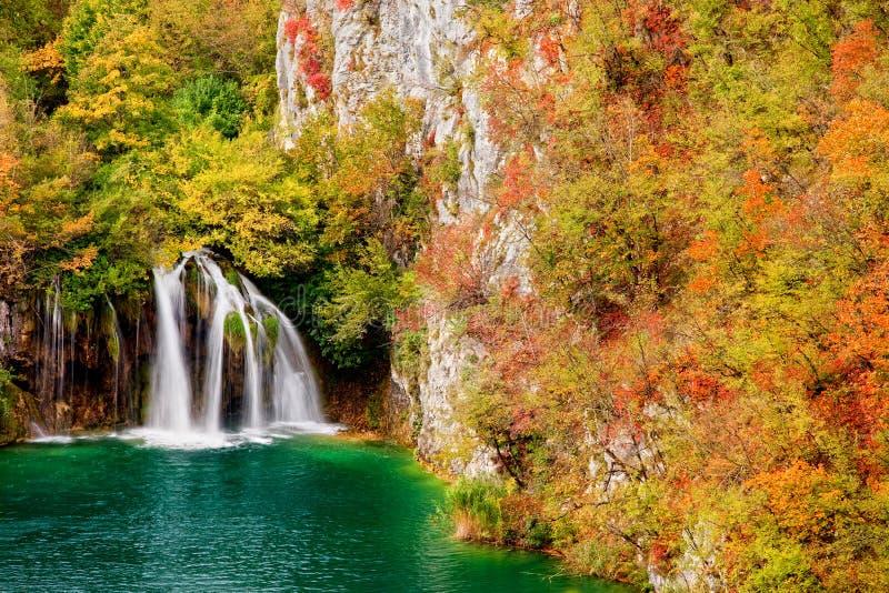 Cascada en bosque del otoño foto de archivo