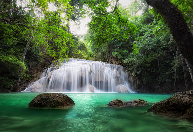 Cascada en bosque tropical foto de archivo libre de regalías