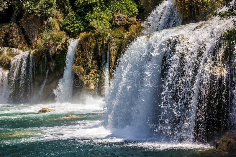 Cascada en Croacia, lago del parque nacional de Krka fotografía de archivo