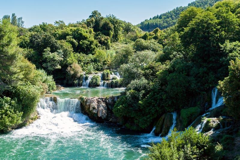 Cascada en el parque nacional de Krka - Dalmacia, Croacia imágenes de archivo libres de regalías