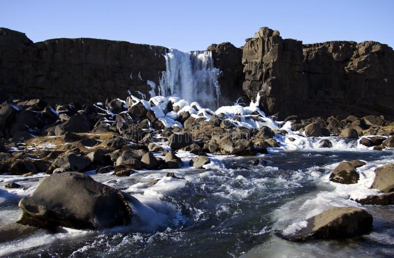 Cascada en la mediados de grieta atlántica, Pingvellir, Islandia fotos de archivo libres de regalías