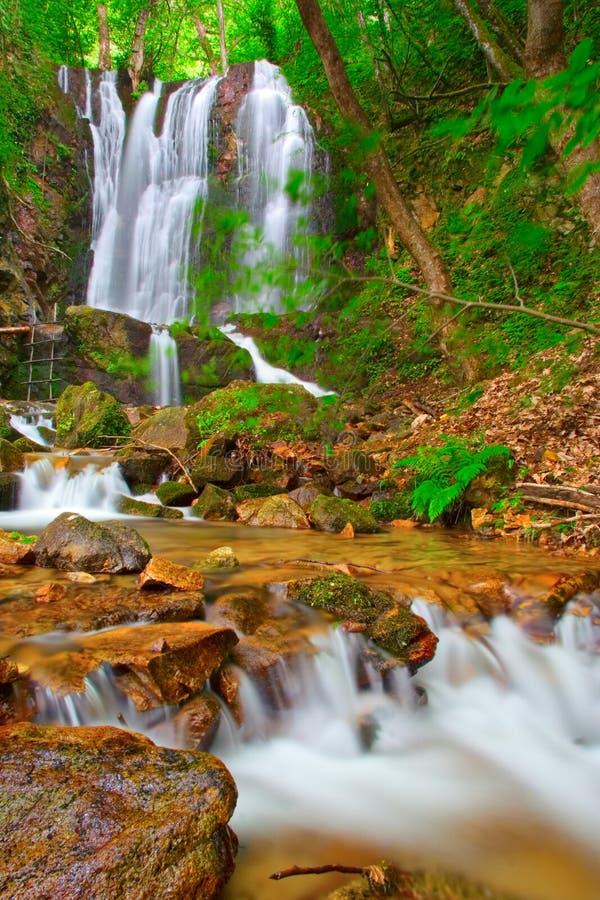 Cascada en las maderas en el campo Macedonia fotografía de archivo libre de regalías