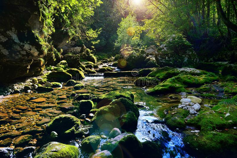 Cascada hermosa del río de la montaña en una puesta del sol con la llamarada de la lente fotos de archivo libres de regalías