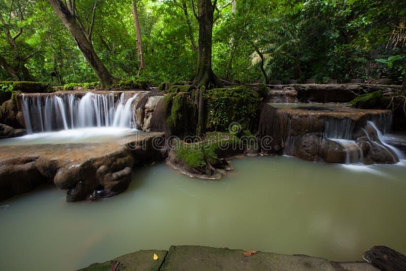 Cascada hermosa en la estación de lluvias en parque nacional imagen de archivo libre de regalías