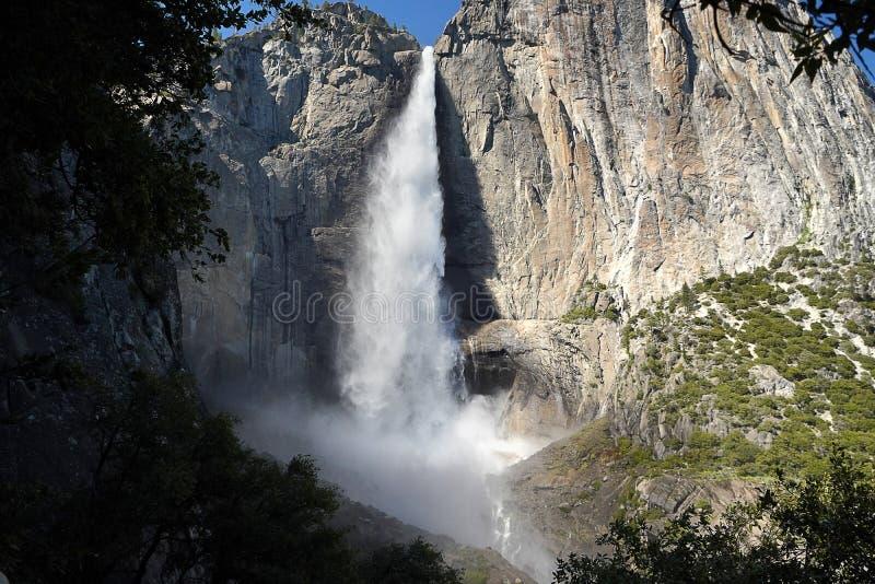 Cascada lleno-que fluye del verano magnífico en el parque nacional de Yosemite, los E.E.U.U. fotografía de archivo