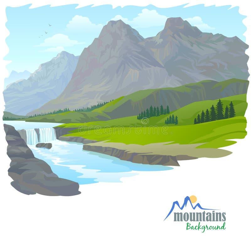 Cascada, montaña, y valle ilustración del vector
