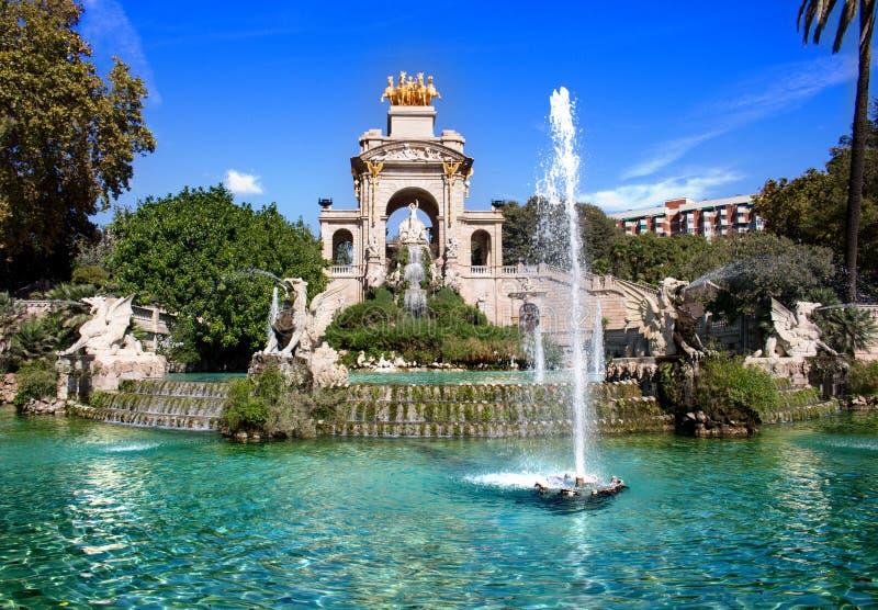 Cascada Monumental, Parque de la Ciudadela, Barcelona Spain. Amazing Cascada Monumental, Parque de la Ciudadela, Barcelona Spain sunny day, blue sky and stock photo