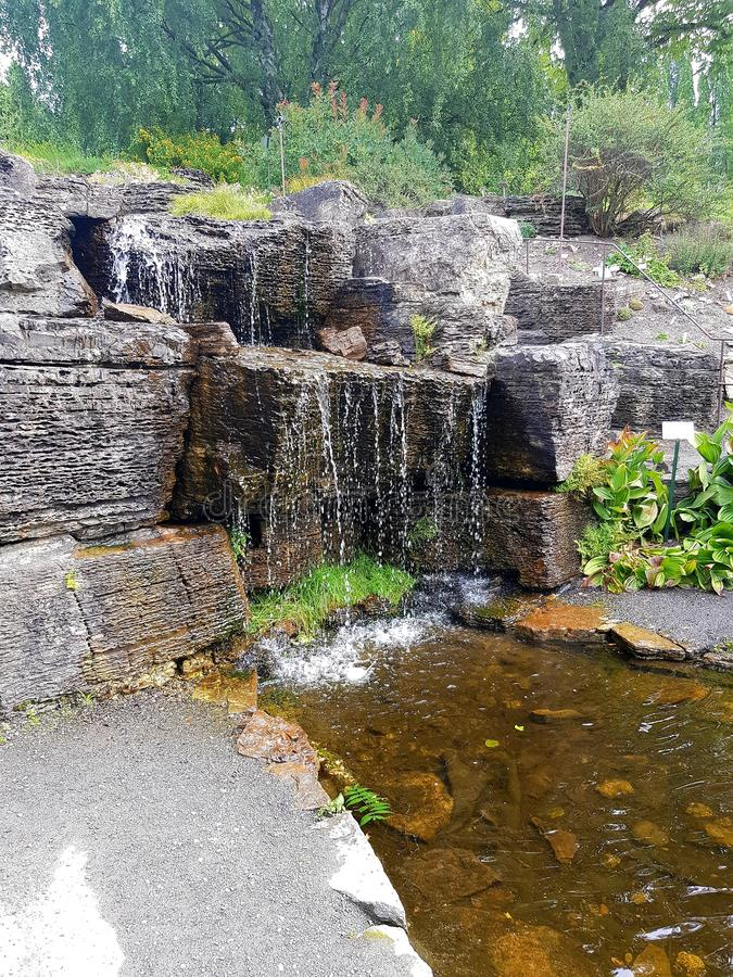 Cascada natural en Oslo, anillo por las plantas y los ?rboles El vapor debajo aparece de bronce en color foto de archivo