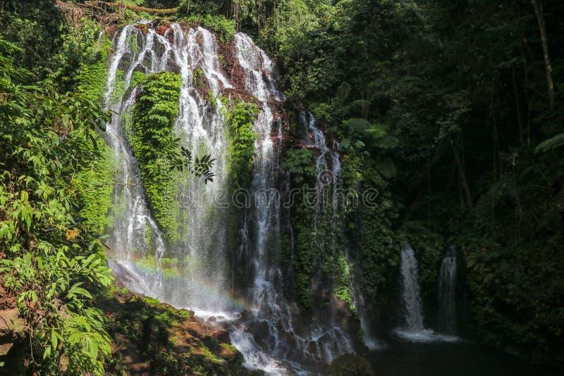 Cascada nombrada cascada hermosa del espray 'de la selva tropical de la montaña 'con la agua corriente y las rocas Fondo al aire  foto de archivo