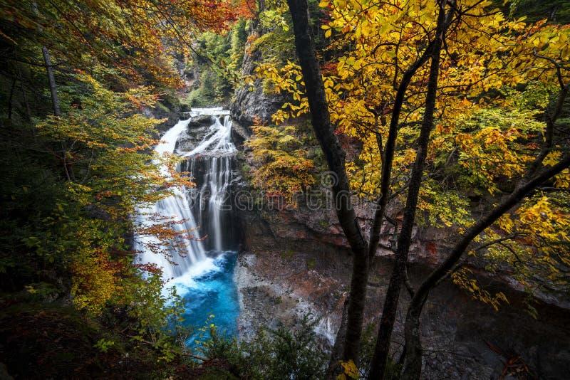 Cascada Ordesa l'Aragona - cascata fotografie stock libere da diritti