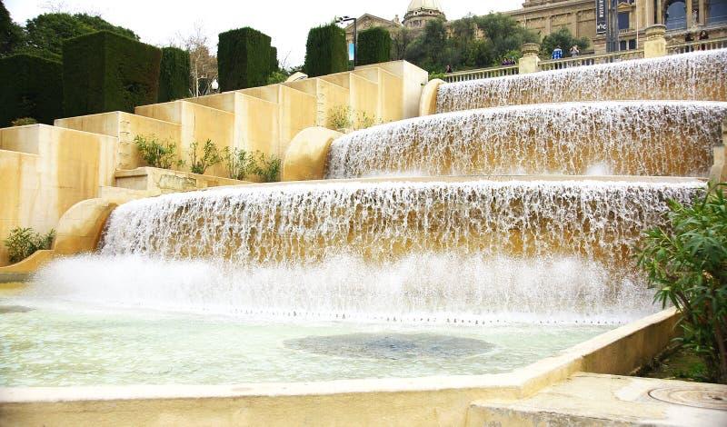 Cascada ornamental en Montjuic imagen de archivo