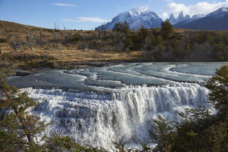 Cascada Paine i den Torres del Paine nationalparken, Chile fotografering för bildbyråer