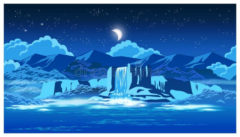 Cascada pintoresca en la noche libre illustration
