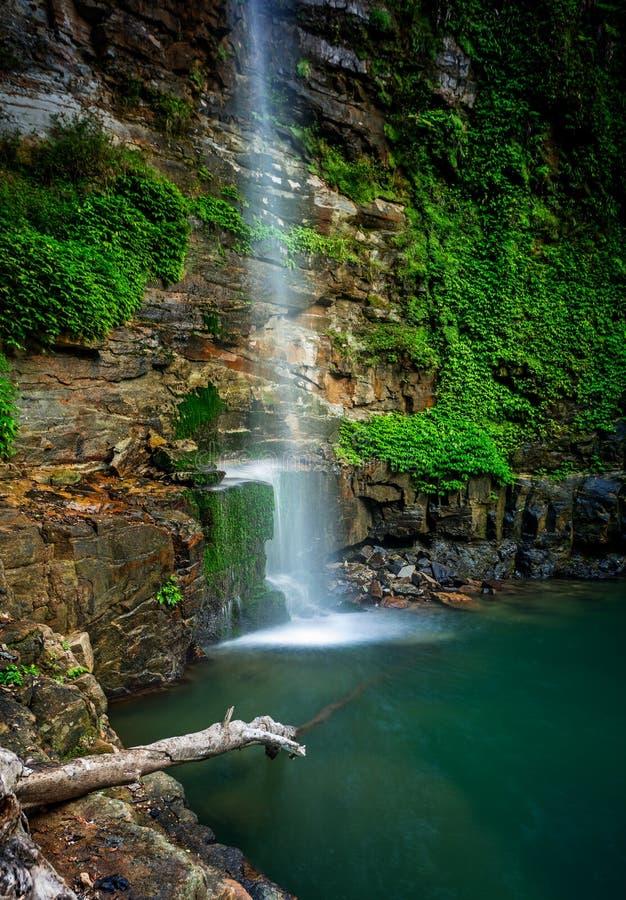 Cascada que fluye en piscinas de la roca del beautiul imagen de archivo
