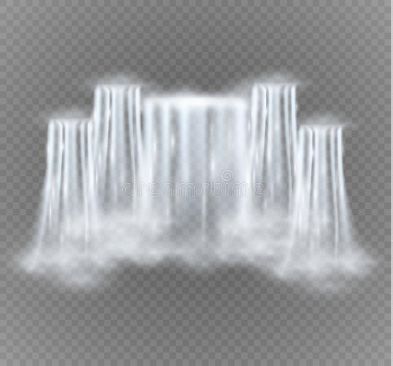 Cascada realista del vector con agua clara Elemento natural para las imágenes del paisaje del diseño Aislado en transparente stock de ilustración