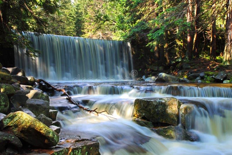 Cascada salvaje, agua, corriente, piedras, reflexiones, naturaleza imagen de archivo