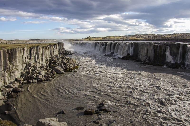 Cascada Selfoss en Islandia fotografía de archivo