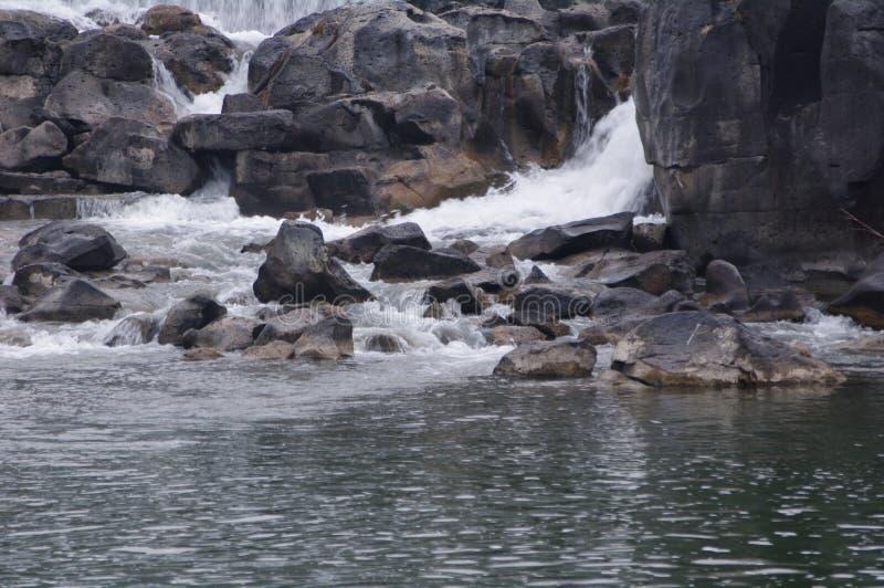 Cascada y corriente rocosa en las caídas de Idaho imagenes de archivo