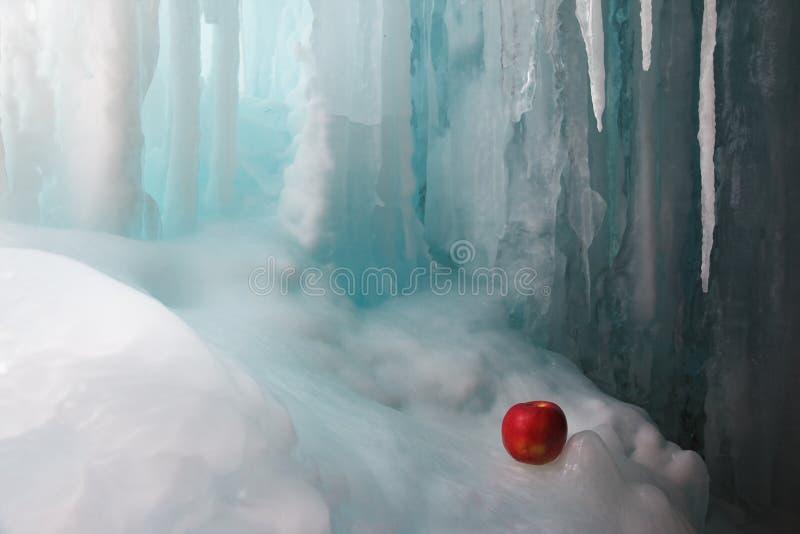 Cascada y manzana congeladas imagenes de archivo