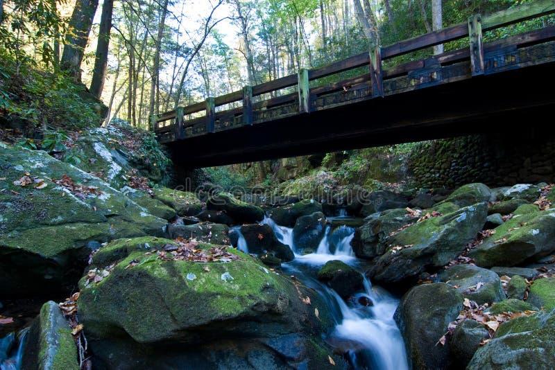 Cascada y puente imágenes de archivo libres de regalías