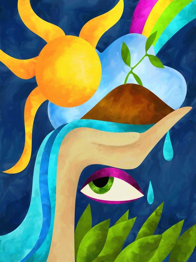 Cascada y sol ilustración del vector