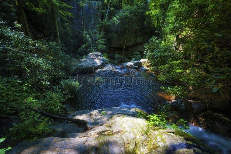 Cascadas azules del agujero en bosque del Estado cherokee imagen de archivo libre de regalías