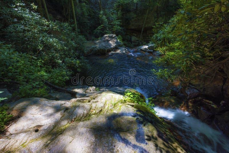 Cascadas azules del agujero en bosque del Estado cherokee foto de archivo libre de regalías