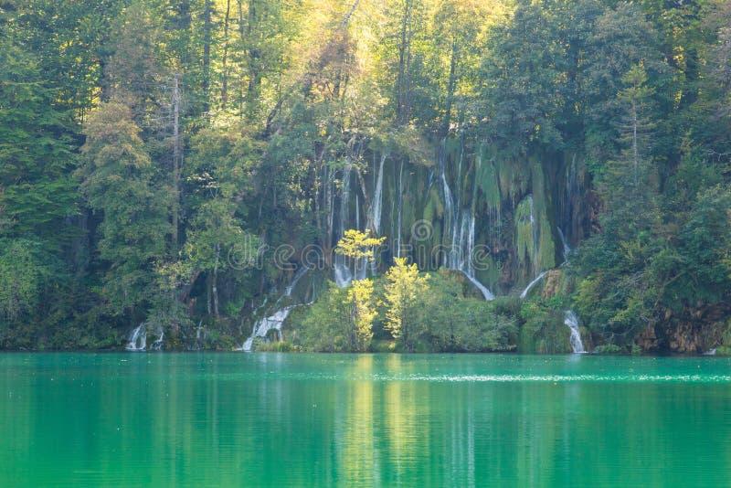 Cascadas con agua del lago de la turquesa en el parque nacional Croacia de los lagos del plitvice fotografía de archivo libre de regalías