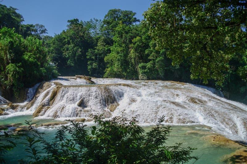 Cascadas de Agua Azul瀑布 阿瓜Azul 库存图片