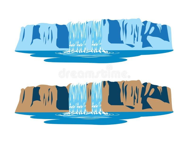Cascadas de la montaña ilustración del vector