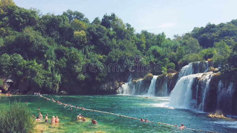 Cascadas del parque nacional de Krka en Croacia fotografía de archivo libre de regalías