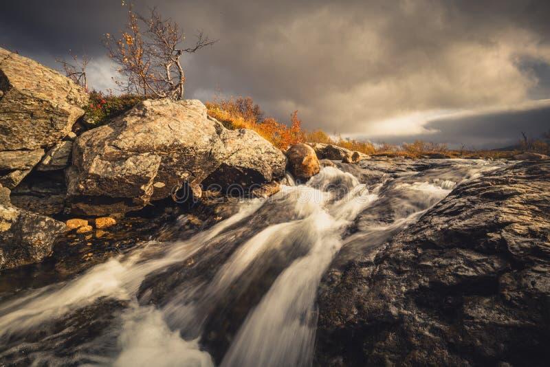 Cascadas en corriente de la montaña Otoño en las montañas de Sylan en Norw imagen de archivo