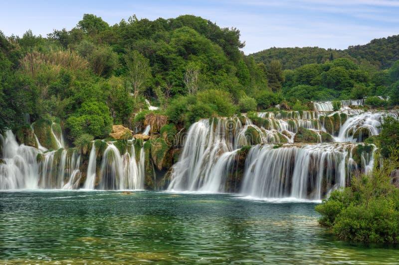 Cascadas en el parque nacional de Krka, R del río de Krka fotos de archivo