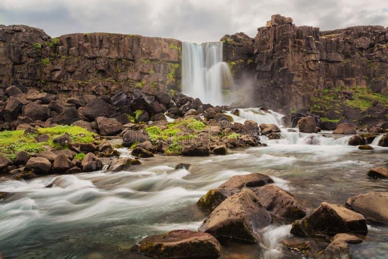 Cascadas hermosas en interior islandés del campo no degradado islandia imagen de archivo