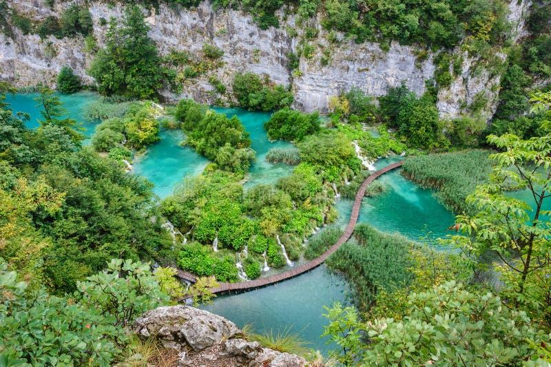 Cascadas hermosas en los lagos parque nacional, Croacia Plitvice imágenes de archivo libres de regalías