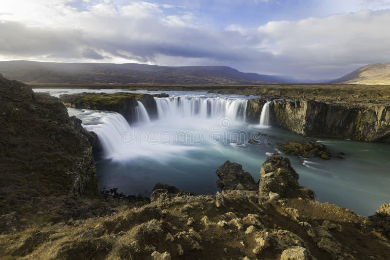 Cascadas Islandia de Godafoss fotografía de archivo