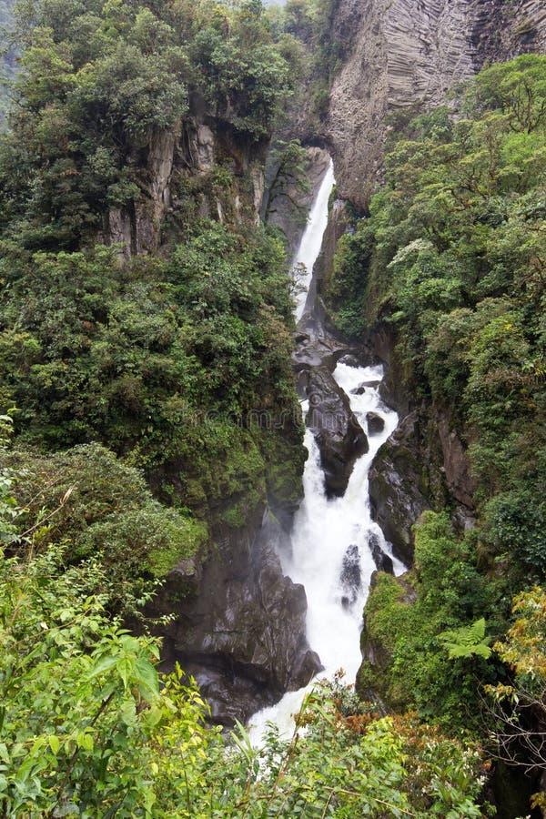 Cascade à écriture ligne par ligne de Diablo, Equateur photo stock