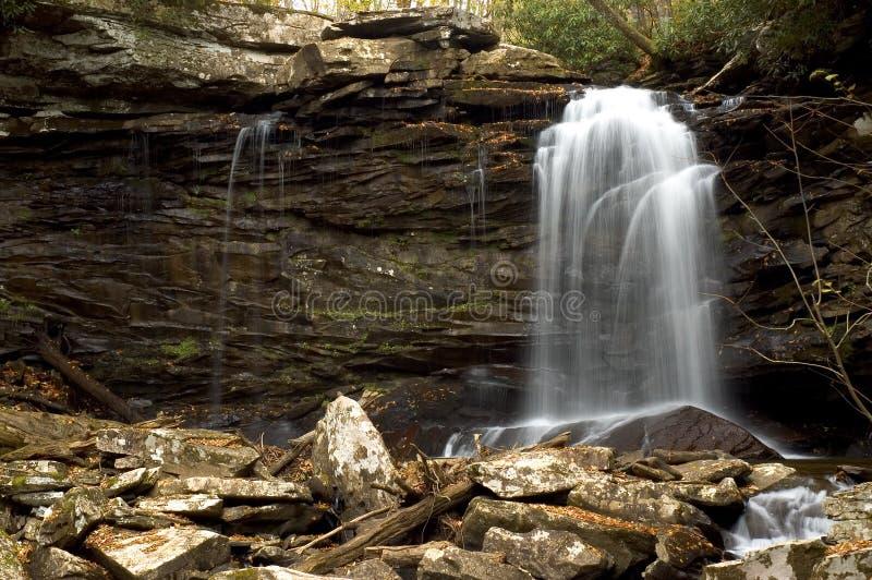 Cascade à écriture ligne par ligne de forêt photo stock