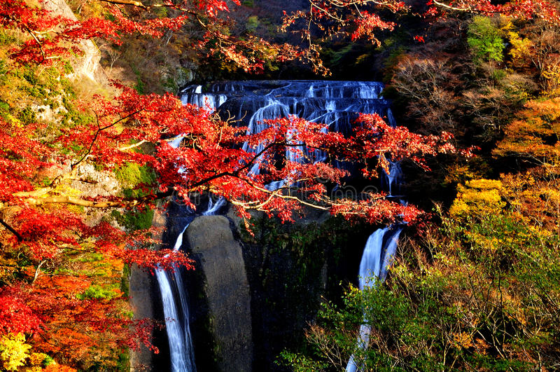 Cascade à écriture ligne par ligne de Fukuroda pendant l'automne photographie stock