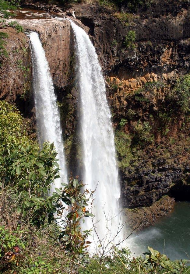 Cascade à écriture ligne par ligne de Kauai images libres de droits