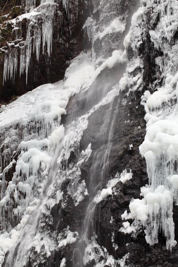 Cascade à écriture ligne par ligne en hiver