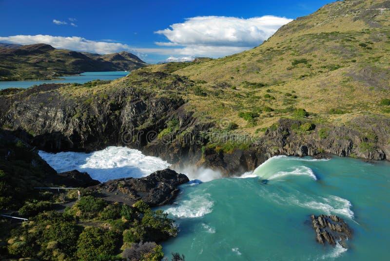 Cascade à écriture ligne par ligne en stationnement national de Torres del Paine photo libre de droits