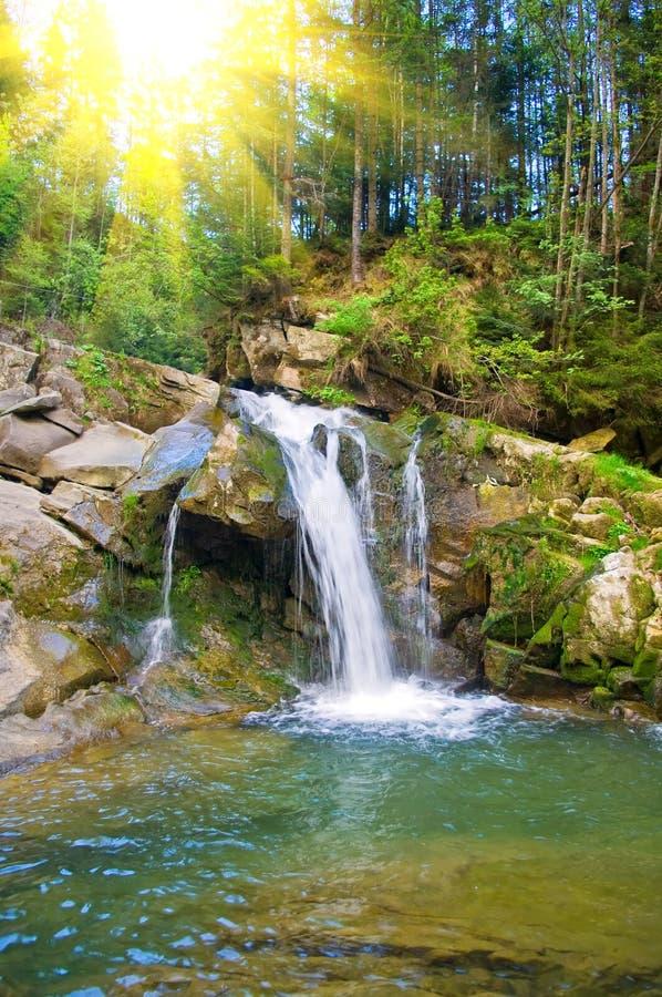 Cascade à écriture ligne par ligne sur un fleuve de montagne au printemps image libre de droits