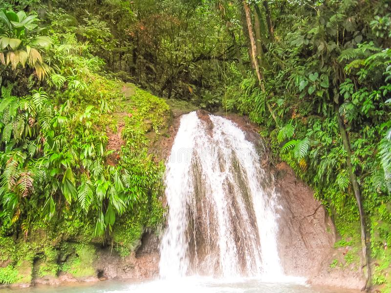 Cascade aux Ecrevisses. The Cascade aux Ecrevisses in Parc National Guadeloupe, located on the road that crosses Basse Terre in Guadeloupe island, French stock images