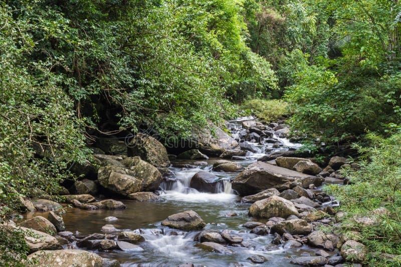 Cascade belle dans l'asi du sud-est de l'Asie de province de kanchanaburi photographie stock libre de droits