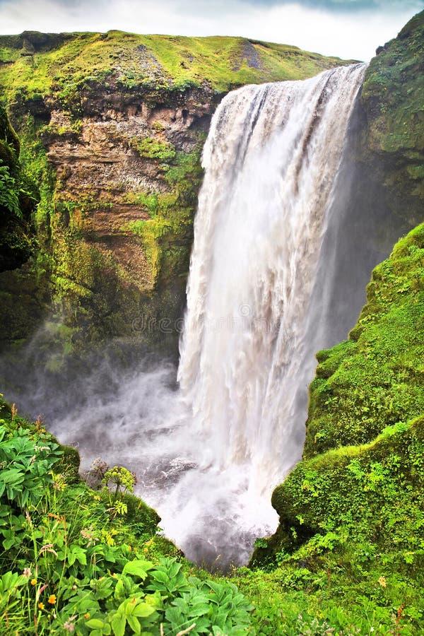 Cascade célèbre de Skogafoss en Islande images stock