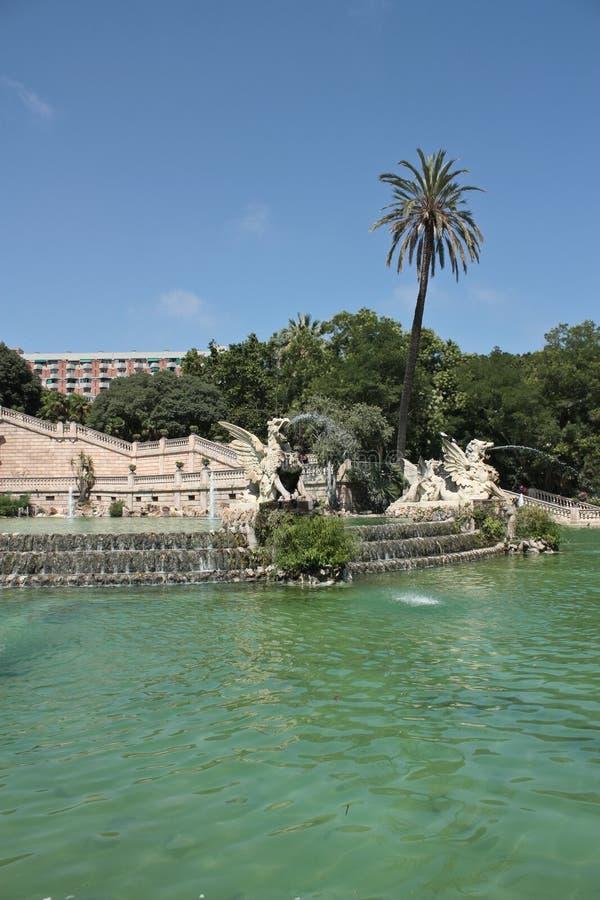 Cascade of the Ciudadela's Park, Barcelona. Cascade and fountain monumental, Parc de la Ciutadella, Barcelona, Spain stock photos
