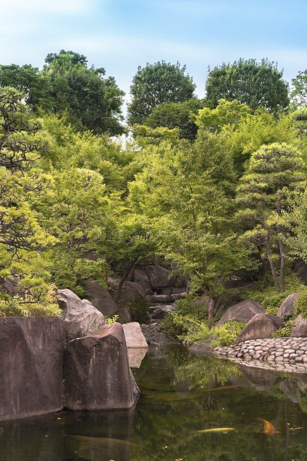 Cascade coulant dans l'étang central du jardin de Mejiro où c photographie stock libre de droits
