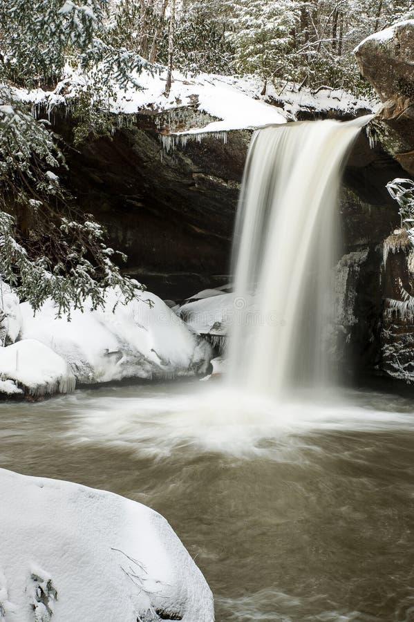 Cascade couverte par neige - appartement léchez les automnes - les Appalaches - Kentucky images libres de droits